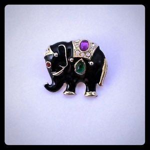 Vintage Black Bejeweled Figural Eleplant Brooch